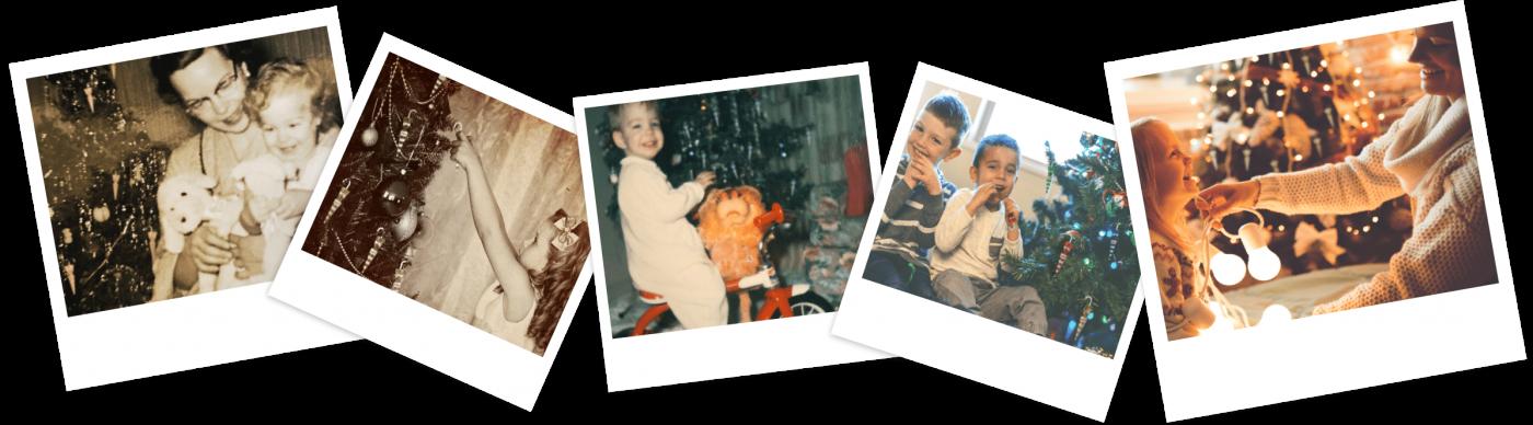Polaroid Fotos mit Kindern und Schokoschirmchen